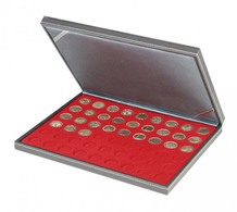 Lindner 2364-2154E NERA M Coin Case With A Light Red Insert With 54 Round Compartments. Suitable For Coins With Ø Of 25 - Supplies And Equipment