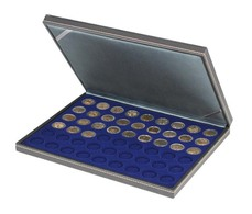 Lindner 2364-2154ME NERA M Coin Case With A Dark Blue Insert With 54 Round Compartments. Suitable For Coins With Ø Of 2 - Supplies And Equipment