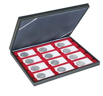 Lindner 2364-2170E Coin Case NERA M With Light Red Insert With 12 Rectangular Compartments For REBECK COIN L Coin Holder - Supplies And Equipment