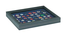Lindner 2367-2148ME NERA M PLUS Coin Case With A Dark Blue Insert With 48 Square Compartments. Suitable For Coins Or Coi - Supplies And Equipment