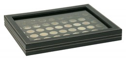 Lindner 2367-2154CE NERA M PLUS Coin Case With A Black Insert With 54 Round Compartments. Suitable For Coins With Ø Of - Supplies And Equipment