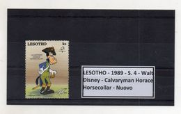 Leshoto - 1989 - S.4 - Walt Disney - Calvaryman Horace - Horsecollar - Nuovo - (FDC8643) - Lesotho (1966-...)