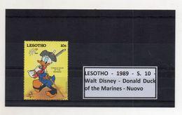 Leshoto - 1989 - S.10 - Walt Disney - Donald Duck Of The Marines - Nuovo - (FDC8644) - Lesotho (1966-...)