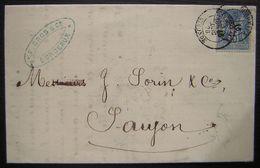 1878 Bordeaux Félix Gros Tonnay Charente & Bordeaux, Lettre Pour Saujon - 1877-1920: Periodo Semi Moderno