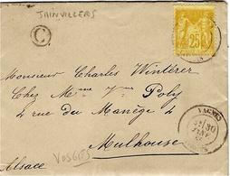 1885- Lettre De VAGNES ( Vosges ) Cad T18  Affr. 25 C Sage N° 92  + C Boite Rurale Zainvillers Pour L'Alsace - Storia Postale