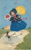 Meisje Met Gele Parasol En Bosje Rozen  - Ill. Fritz Baumgarten - A774 - Baumgarten, F.