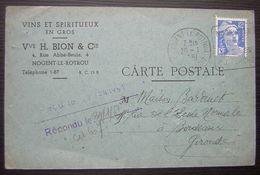 1951 Nogent Le Rotrou Vins Et Spiritueux En Gros Vve H. Bion , Carte Postale - Marcophilie (Lettres)