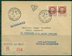 FRANCE  Ilot De St NAZAIRE Let Rec PIRIAC 24.3.45 Tp Pétain Surch. TAXE PERCUE C.yv.:400 €.TB - Libération