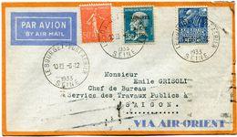 FRANCE LETTRE PAR AVION DEPART LE BOURGET PORT AERIEN 6-12-1933 SEINE POUR SAIGON (INDOCHINE) - 1927-1959 Briefe & Dokumente