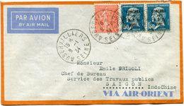 FRANCE LETTRE PAR AVION DEPART AUBERVILLIERS 9-1-34 SEINE POUR SAIGON (INDOCHINE) - 1927-1959 Briefe & Dokumente