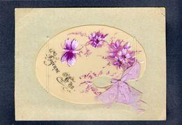 PETITE CPA CELLULOID CELLULOIDE AJOUTIS DECOUPIS DOREE Palette De Peintre Papillon Peinte Main (6,5 X 9,5 Cm)-#671 - Fantaisies