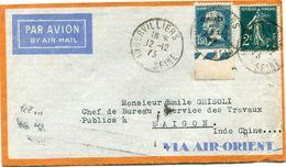 FRANCE LETTRE PAR AVION DEPART AUBERVILLIERS 12-12-33 SEINE POUR SAIGON (INDOCHINE) - 1927-1959 Briefe & Dokumente