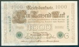 Deutschland, Germany - 1000 Mark, Reichsbanknote, Ro. 46 A , UNC, Selten, Rare ( Serie G/D ) 1910 ! - [ 2] 1871-1918 : German Empire