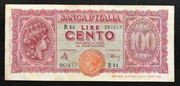 100 Lire Lugotenenza 10 12 1944 Bel Bb+ Naturale   LOTTO 545 - [ 1] …-1946 : Kingdom