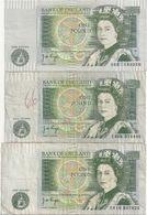 Grande Bretagne Lot De 3 Billets One Pound - 1952-… : Elizabeth II