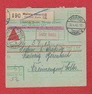 Allemagne  -- Colis Postal  -  Départ Merzig  -- 30/4/1943 - Allemagne