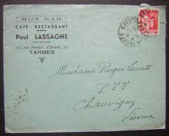 """1936 Tarbes """"Mon Bar"""" Café Restaurant Paul Lassagne (Hautes-Pyrénées) Vignette à L Arrière Contre La Chute Des Cheveux - Marcophilie (Lettres)"""