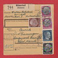 Allemagne  -- Colis Postal  -  Départ Römerbad -- 30/12/42 - Allemagne