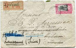 COTE FRANCAISE DES SOMALIS LETTRE RECOMMANDEE DEPART DJIBOUTI 8 AVRIL 19 POUR LA SUISSE - Côte Française Des Somalis (1894-1967)