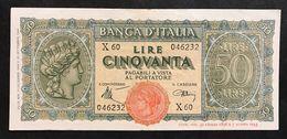 50 LIRE ITALIA TURRITA 10 12 1944 Q.spl OTTIMO BIGLIETTO  LOTTO 411 - [ 1] …-1946 : Regno