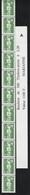 R 92 2.20f VERT MARIANNE BRIAT - Roulette De 11 TP Dont 3 N° Avec BANDE De GARDE - Coil Stamps