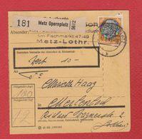 Allemagne  -- Colis Postal  -  Départ Metz Opernplatz -- 12/3/1943 - Alemania