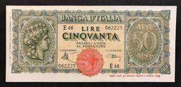 50 LIRE ITALIA TURRITA 10 12 1944 Q.spl OTTIMO BIGLIETTO  LOTTO 518 - [ 1] …-1946 : Kingdom