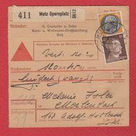 Allemagne  -- Colis Postal  -  Départ Metz Opernplatz -- 17/3/1943 - Allemagne