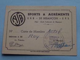 """A.S.B. Sports & Agréments """" Carte De MEMBRE """" ( Ecole Nat. D'Horlogerie Besançon / ROY ) Anno 1947/48 ( Voir Photo ) ! - Cartes De Visite"""