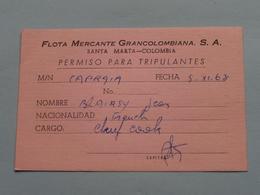 "FLOTA MERCANTE GRANCOLOMBIANA : Vapor "" CAPRAIA "" ( Blairsy > Chef Cook France ) Anno 1963 ( Voir Photo ) ! - Boats"