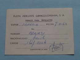 "FLOTA MERCANTE GRANCOLOMBIANA : Vapor "" CAPRAIA "" ( Blairsy > Chef Cook France ) Anno 1963 ( Voir Photo ) ! - Bateaux"
