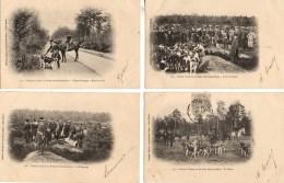 CHASSE A COURRE  En Forêt De Fontaineblaeau Lot De 8 Cartes - Hunting