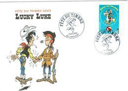 Enveloppe - Fête Du Timbre 2003 - LUCKY LUKE - Tampon LIANCOURT - - Marcophilie (Lettres)