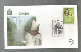 Premier Jour , FDC, Zambia , Zambie, John Paul II ,LUSAKA , 2/4-5-1989 - Zambie (1965-...)