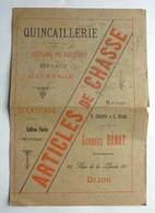 CATALOGUE ARTICLES DE CHASSE - GEORGES RONOT - DIJON - Advertising