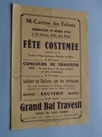 RIOM (Puy-de-Dôme) Mi-Carême Des ENFANTS Dimanche 19 Mars 1950 Fête Costumée / Petit Affiche 18 X 12,5 Cm.( Zie Foto ) ! - Seasons & Holidays