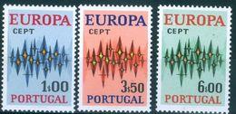 PORTUGAL #1141-3  - EUROPA  CEPT  -  SPARKLES  3v -  1972 - Unused Stamps