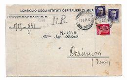 EDB469  - REGNO ,lettera Raccomandata Del 13/6/1931 Da Milanocentro . Poco Fresca - 1900-44 Vittorio Emanuele III