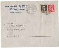 TY44   Storia Postale 1940 Lettera Da Povegliano Veronese Per Vicenza, Imperiale 30+20c - 1900-44 Victor Emmanuel III