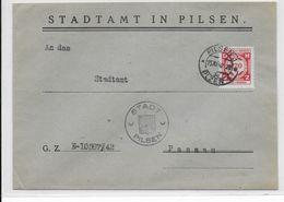 1942 - BÖHMEN UND MÄHREN - TIMBRE De SERVICE Sur ENVELOPPE De La VILLE De PILSEN => PASSAU - Bohême & Moravie