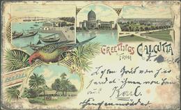 """Beleg 1900, Dekorative Farbige Litho-Karte """"Greetings From Calcutta"""" Mit Ceylon-Frankatur Nach Deutschland Gelaufen - Stamps"""