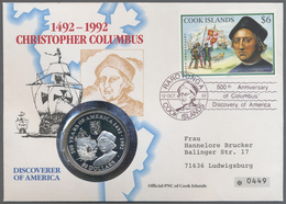 Beleg 1992, 6 $  500 Jahre Entdeckung Amerikas Auf Illustr. Numisbrief Mit Entsprechendem SST Und Mit Entsprechender 50  - Stamps