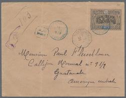 Beleg 1901, 25 Cts. Freimarke Rs. Auf 25 Cts. GA-Umschlag(Faltspur) Als R-Brief Von Djibouti Nach Guatemala, Selt. Desti - Stamps
