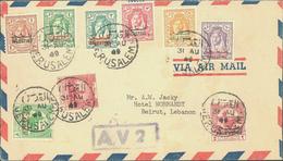 Beleg 1949, Freimarken Und Zwangszuschlagsmarken Von Jordanien Mit Aufdruck Auf LP-Brief Von Jerusalem Mit Rahmenst. A.V - Stamps