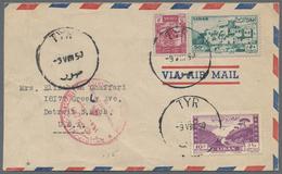 Beleg 1950, 9. 8., Lp-Bf. (links Verkuerzt) Aus Tyr In Die USA Mit Vs. SST Von Palaestinenser-Fluechtlingstreffen (Miche - Stamps