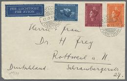 Beleg 1938, 12.10., Wilhelmina 10-20 C. Auf Lp.-Bf. Aus Batavia Centrum Nach Dtschld. (Michel: 250-52) - Stamps