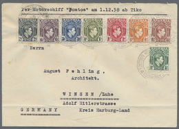 Beleg 1938, Georg VI, 1/2 P- 1 Sh., 8 Verschiedene Werte, Selt. Buntfrankatur Auf Brief(Faltspur Unten)von Tiko Per Moto - Stamps