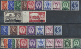**/* 1953-57, Ueberdruck-Ausgabe, 31 Werte, 30 Mit Erstfalz, Dabei 5 Rupees Type II Postfr. Randstueck (Michel: 48-76) - Stamps