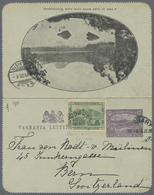 Beleg 1908, 1/2 P. Lake Maria Als ZuF Auf 2 Pf. Kartenbrief (Bild Lake Windermere)von Hobart Nach Bern (Michel: 61 U.a.) - Stamps