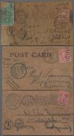 Beleg 1907/08, 3 Verschiedene Leder-Postkarten Nach Deutschland Gelaufen, Frankatur Meist Defekt - Stamps
